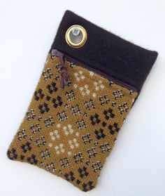 Vintage Welsh Tapestry and Pure Wool Tall Pouch Gold Mustard Black Cream - Key Chain, Doggie Treats, Change Purse, Phone Pouch. by didyoumakeityourself on Etsy