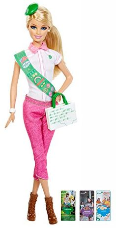 Barbie doll loves the Girl Scouts and celebrates the Girl Scout Cookie Program! This keepsake doll wears a Girl Scout-inspired outfit with plenty of Barbie signature style (think lots of pretty pink t... Girl Scout Sash, Daisy Girl Scouts, Girl Scout Songs, Blond, Sports Games For Kids, Barbie Toys, Barbie Playsets, Pink Barbie, Barbie Hair
