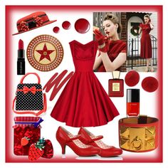 """""""1940's Red"""" by freida-adams ❤ liked on Polyvore featuring Erstwilder, Hermès, Smashbox, Topshop, Bella Bellissima and NARS Cosmetics"""