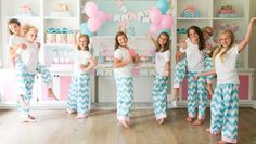 Monogram slumber birthday party for tweens or teens with shades of pink, aqua and glittery gold. DIY favors like polka dot totes, ribbon embellished flip flops and adorable printable decorations.