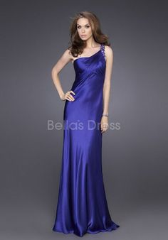Luxurious A line Empire One Shoulder Elastic Silk Like Satin Brush Train Evening Gowns