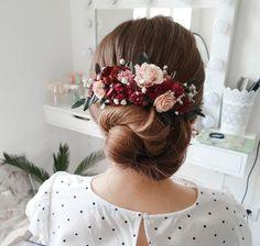 boho pink hair piece bohemian 1150 bridesmaid hair accessories wedding floral headpiece Dusty rose bridal flower hair comb with berries
