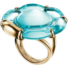 Baccarat B Flower Ring ($580) ❤ liked on Polyvore featuring jewelry, rings, new arrivals, turquoise, peony rings, flower jewellery, flower jewelry, blossom jewelry and baccarat jewellery