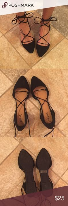 NWT black lace-up ballet flats Only worn around the house once to see if I can live with heels (I can't ) ships same or next day. Fits true to size. Price is firm. Shoes Flats & Loafers