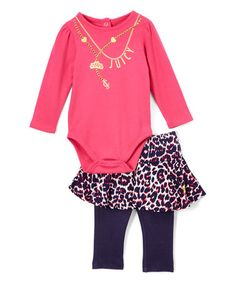 Look what I found on #zulily! Deep Pink Bodysuit & Blue Skirted Leggings - Infant #zulilyfinds