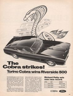 1969 Ford Torino Cobra print ad Richard Petty sets by Vividiom, $9.00