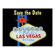 Las Vegas Wedding Save the Date Cards Las Vegas Wedding Save the Date Postcard