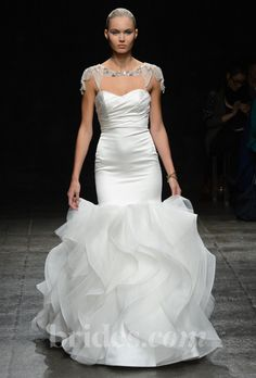 """Brides: Hayley Paige - Spring 2013. Style HP6302, """"Leighton"""" strapless silk satin trumpet wedding dress with a ruched sweetheart bodice and a textured silk organza skirt, paired with a crystal bolero, Hayley Paige"""