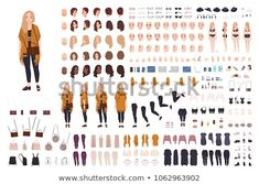 1b4e89740 Young fat curvy woman or plus size girl constructor or DIY kit. Set of body