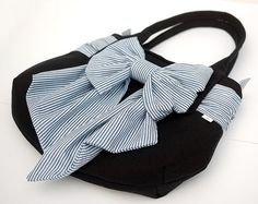 Navy Tote Handbag with Huge Nautical Bow. Rounded Purse Bag with Fabric Sailor Bow Pretty Feminine Blue White Wraparound Sash Belt