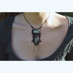 Handmade Micro-macramé Necklace with two labradorite gemstones