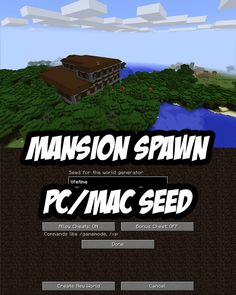 Minecraft PC seed where you right beside a rare find, a woodland mansion. For PC/Mac.