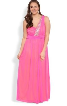 6e824a92ff4 Plus Size Long Prom Dress with One Shoulder Strap with Stone Accents Curvy Plus  Size Prom
