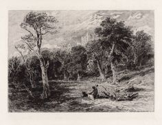 "Excellent David Cox 1800s Antique Etching ""Hardwick Hall"" Signed COA Detailed  #OldMaster"