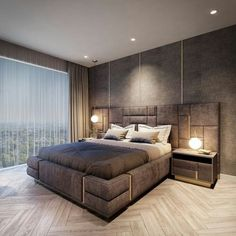 Captivating Modern Bedroom Decor Ideas for Men 2018 - Why Maxx Luxury Bedroom Design, Bedroom Bed Design, Bedroom Decor, Cozy Bedroom, Bedroom Lighting, Bedroom Chandeliers, Bedroom Brown, Bedroom Neutral, Bedroom Modern