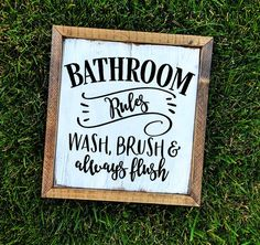 Bathroom Decor Bathroom Wall Decor Farmhouse Bathroom Signs Rustic Bathroom D Rustic Bathroom Decor, Rustic Bathrooms, Rustic Wall Decor, Simple Bathroom, Bathroom Styling, Bathroom Interior Design, Farmhouse Decor, Bedroom Decor, Bath Decor