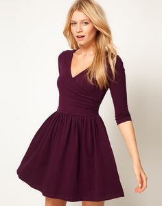 Plum ASOS Skater Dress With Ballet Wrap and 3/4 Sleeve
