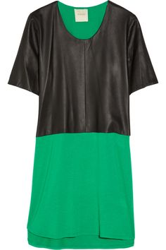 Mason by Michelle Mason | Leather and jersey dress | NET-A-PORTER.COM