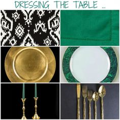 Rosa Beltran Design {Blog}: MY HOLIDAY TABLESCAPE AND SOURCES.  mood board inspiration tablescape table setting tabletop malachite rim china gabbay black and white ikat tablecloth gold chargers gold bamboo flatware hemstitch linens napkins linen brass candlestick candlesticks extra tall colored tapers taper candles hunter green fern kelly kelley