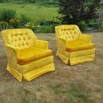 Image of Vintage Hollywood Regency Tufted Chairs - A Pair