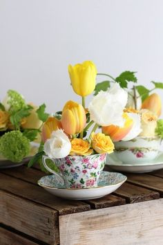 Use teacups to make a flower arrangement for your Easter table.