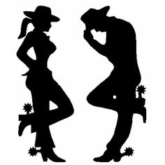 Nostalgia Decals Cowgirl & Cowboy Silhouette Black Decal x in The United States Cowboy Theme, Cowboy Party, Western Theme, Cowboy And Cowgirl, Horse Silhouette, Silhouette Images, Horse Stencil, Westerns, Leather Tooling Patterns