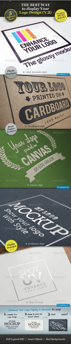 5 Realistic Logo Mockups - Smart Template V.2  - GraphicRiver Item for Sale $7