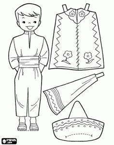Dibujos para colorear de trajes tipicos de mexico - Imagui