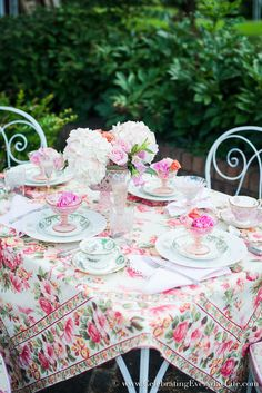 Dining On The Patio, April Cornell Rosemary Tablecloth