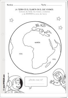 """La Tierra es el planeta en el que vivimos"" (Fichas de pipoclub.com) Preschool Science, Science Art, Home Schooling, Solar System, Social Media Marketing, Activities For Kids, Math, Blog, Ideas Para"
