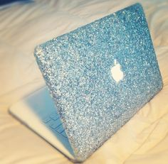 DIY Glitter Mac Book cover. Clear hard cover from Amazon, glitter, mod podge, and clear acrylic spray!!