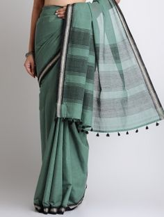 Green-Black Cotton-Khadi Handwoven Saree-Indian August-