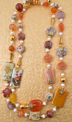 Long beaded decoupage and agate necklace