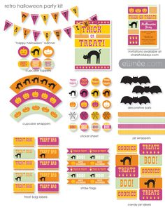 Want to throw a Halloween party without spending tons of money at the store? This DIY retro Halloween kit has you covered. Printable Halloween Decorations, Happy Halloween Banner, Halloween Party Invitations, Party Printables, Halloween Printable, Free Printables, Printable Banner, Easter Printables, Halloween Retro