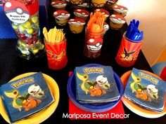 Pokemon Party  | CatchMyParty.com Pokemon Birthday, Leo Birthday, Birthday Ideas, Pokemon Photo, Pokemon Craft, Party Rock, 10th Birthday Parties, Pandora Jewelry, Event Decor