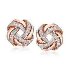 Diamond Love Knot Earrings in Rose Gold Over… Ross-Simons – ct. Diamond Love Knot Earrings in Gold Diamond Earrings, Diamond Bracelets, Diamond Studs, Diamond Jewelry, Jewelry Bracelets, Jewelry Clasps, Rose Gold Earrings, Feather Earrings, Ankle Bracelets