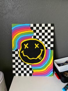 Small Canvas Paintings, Easy Canvas Art, Small Canvas Art, Cute Paintings, Mini Canvas Art, Hippie Painting, Trippy Painting, Diy Painting, Indie Art