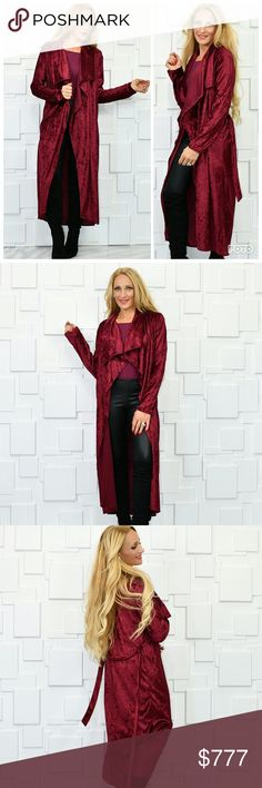 BURGUNDY VELVET DUSTER Brand new Boutique item Price is firm  Gorgeous burgundy crushed velvet belted duster. Pair Sith a tank top and jeans/leggings or pair over a dress with heels. The piece is perfect for the season and for the upcoming holidays.  Modeled in a size small. Tire to size for an open front duster 100%polyester Tops