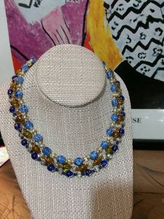 Home Improvement Set Of Eyeglass Chains By Joan Rivers Gold Tone W/ Black And Blue Beads