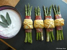 Oh...myyy.....Prosciutto Wrapped Asparagus Bundles with Sage Infused Sour Cream
