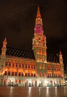 Hotel de Ville - Grand Place at Midnight - Brussels #Belgium