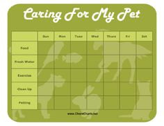 Pet Care Requirement 5 Keep a Chart for two Weeks