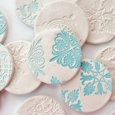 DIY Stamped Clay Magnets - Gathering Beauty using air dry clay - could also be done with polymer or pottery clay. Another take on salt dough ornaments also. Diy Clay, Clay Crafts, Fun Crafts, Arts And Crafts, Clay Christmas Decorations, Christmas Crafts, Christmas Ornaments, Hanging Decorations, Star Decorations