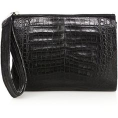 Nancy Gonzalez Crocodile Clutch ($1,230) ❤ liked on Polyvore featuring bags, handbags, clutches, apparel & accessories, black, wristlet handbags, croco handbag, croc embossed handbags, nancy gonzalez and crocodile embossed handbags