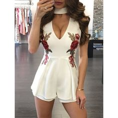 White Choker V Neck Floral Embroidery Sleeveless Sexy Romper (355 MXN) ❤ liked on Polyvore featuring jumpsuits, rompers, sexy rompers, summer romper, white romper, sleeveless romper and white rompers