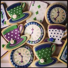 """337 Likes, 13 Comments - Buttercup Cookie (@buttercupcookie) on Instagram: """"Time for tea. #buttercupcookie #madhattersteaparty #madhattercookies #babyshower #babyshowercookies"""""""