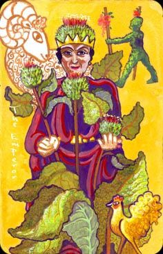 The Emperor - The Wild Green Chagallian Tarot by Penelope Cline If you love tarot, visit me at www.WhiteRabbitTarot.com