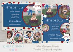 kimla designs | Photoshop Templates for Photographers | Digital Scrapbooking: 4th of July Mini Marketing Templates | 4th of July Digital Scr...--such cute ideas for scrapping.