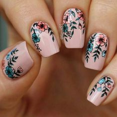 Your graduation nails will be the most outstanding at a party with the help of our tips. All your school girlfriends will envy your sophisticated manicure and ask you how you got inspired. In order to help you to choose the right prom nails, we have selec Cute Nail Art, Cute Nails, Pretty Nails, Beautiful Nail Designs, Cute Nail Designs, Flower Nail Designs, Pedicure Designs, Creative Nail Designs, Floral Designs