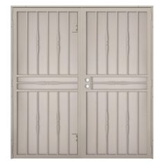 Cottage Rose Tan Surface Mount Outswing Steel Security Double Door With Expanded Metal Screen